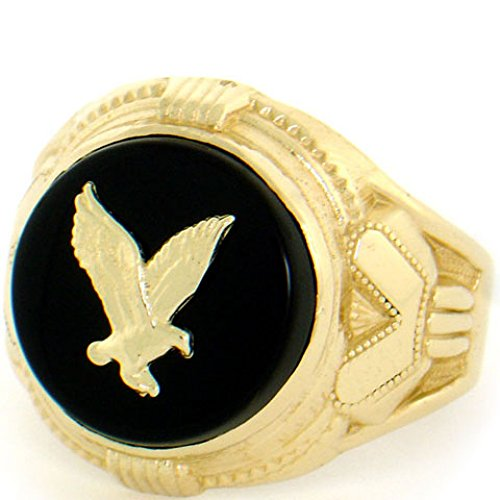 10k Solid Yellow Gold 14mm Round Onyx Eagle Mens Ring (10k Eagle Ring)