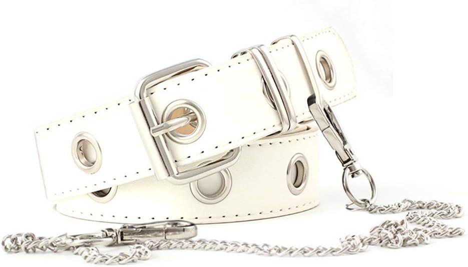 Huture White Belt Women Men Jeans Belt White PU Leather Belt Grommet Belt with Hip Hop Wallet Chain Leather Belt with Square Buckle Punk Belt for Women Adjustable Buckle Waist Belt for Dress Jumpsuit