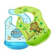 IlikeEC Removable Waterproof Bib Easily Wipes Clean Comfortable Soft Baby Bibs (Monkey & Submarine)