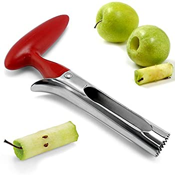 My Apple Corer Stainless Steel Serrated Fruit and Vegetable Corer, Cherry Red