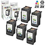 LD Canon Remanufactured PG210XL / PG210 & CL211XL / CLI211 Set of 5 High Yield Ink Cartridges: Includes 3 Black PG-210XL & 2 Color CL-211XL
