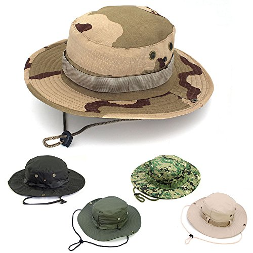 AYAMAYA Sun Protection Tactical Boonie Hat Quick Drying Fishing Hats for Men Women, Breathable Wide Brim Military Hat Summer Outdoor UV Protective Sun Visor Bucket Cap for Hunting Travel Hiking Beach -