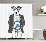 Ambesonne Quirky Shower Curtain by, Dressed Up Hipster Dog with Glasses Hand Drawn Sketchy Fashion Animal Fun, Fabric Bathroom Decor Set with Hooks, 75 Inches Long, Black White Blue