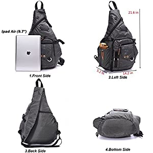 DDDH Large Sling Bags Crossbody Backpack 14.1-Inch Chest Daypack Travel Bag Book Bag for Men&Women(Grey)