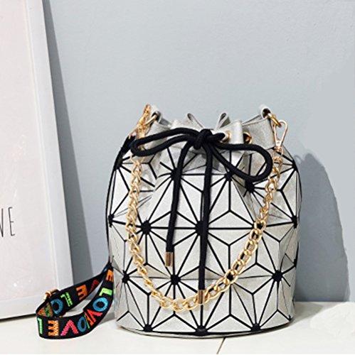 Silver Bucket Shoulder Leisure Geometric Luminous Bag Laser Handbag Women Bag Lingge Flash 6qBPnwnIx7