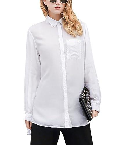 Mujeres De La Floja De La Empresa Camisa Blusa De Mangas Largas De Las Tapas De Botón De Cuello En V
