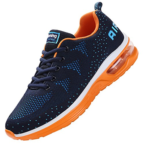 JARLIF Men's Lightweight Athletic Running Shoes Breathable Sport Air Fitness Gym Jogging Sneakers (8 D(M) US, BlueOrange) - Breathable Air