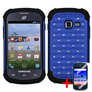 SAMSUNG GALAXY CENTURA S738C BLUE SPOT DIAMOND BLING HYBRID COVER HARD GEL CASE +FREE SCREEN PROTECTOR from [ACCESSORY ARENA]