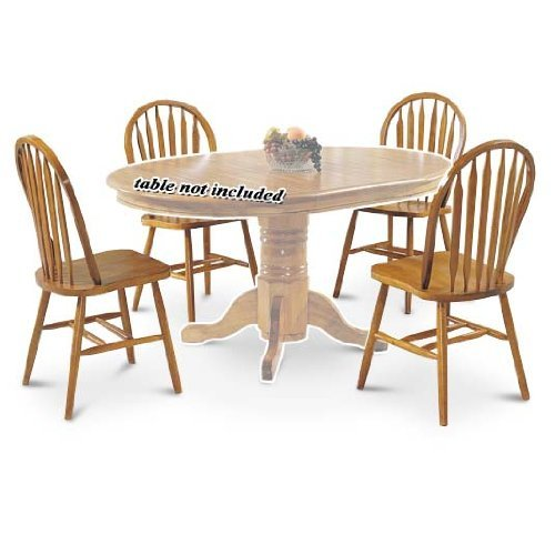 ACME 06344OAK Set of 4 Nostalgia Deluxe Arrow Back Windsor Chair, Oak Finish Windsor Dining Room Set