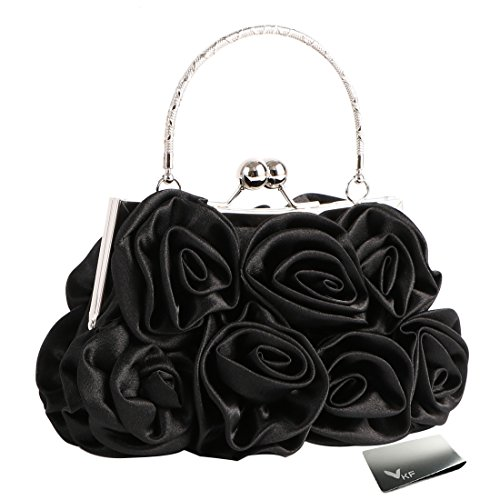 Missy K 7 Roses Clutch Purse, Satin, with Clasp Closure - Black, with kilofly Money (Satin Clutch Purse)
