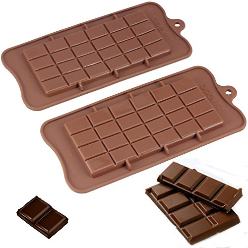 Mujiang Supplies Set of 2 Food Grade Non Stick Premium Silicone Break Apart Chocolate, Protein and Energy Bar Molds