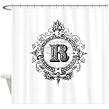 "CafePress - Modern Vintage Monogram Letter R - Decorative Fabric Shower Curtain (69""x70"")"