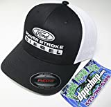Automotive : FLEXFIT FITTED ford powerstroke trucker ball cap hat diesel truck gear flex fit white black mesh