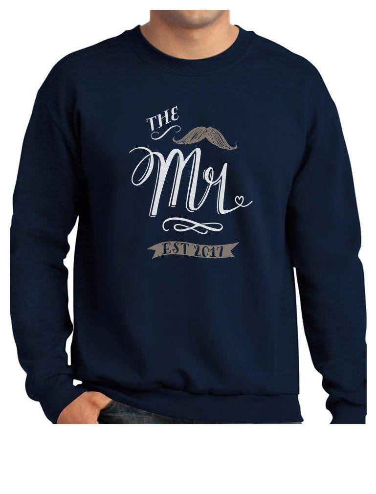 TeeStars - The Mr. EST. 2017 Wedding Gift for Couples - Newlywed Sweatshirt Medium Navy