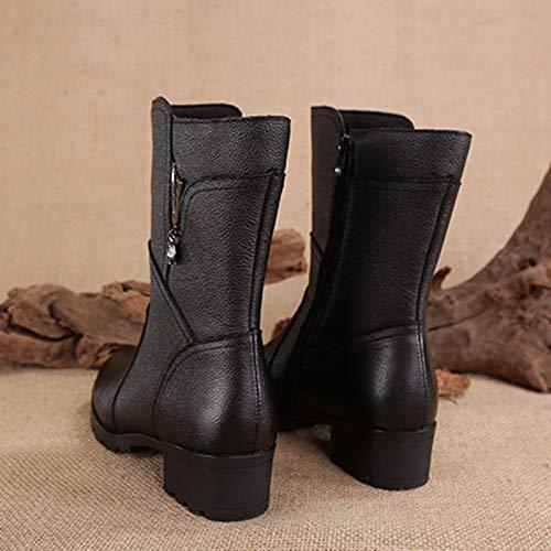 De Mujer E Zapatos Algodón Alto Black Otoño Tacón Botas Terciopelo Y Invierno Para F4Bqw4d