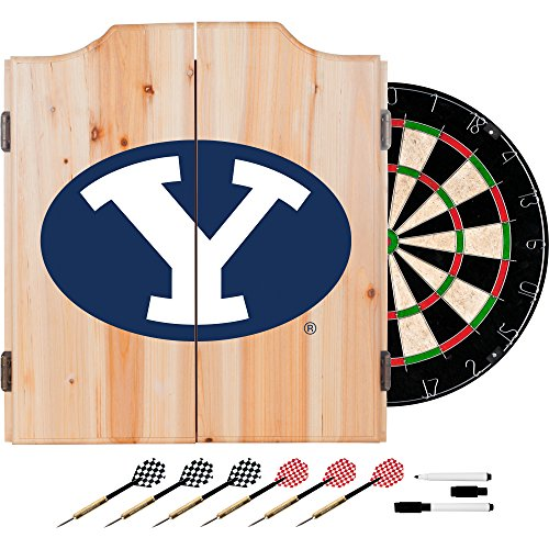 NCAA BYU Wood Dart Cabinet Set