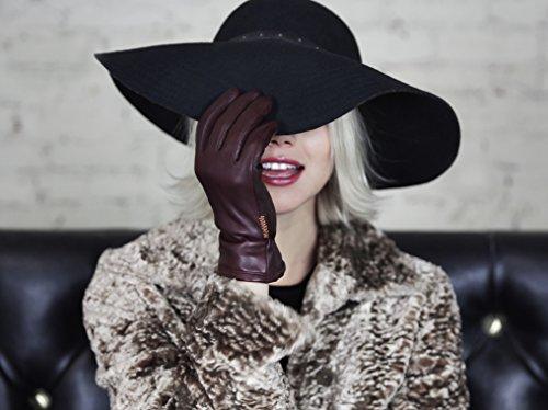 HONNS Women's Selina Gloves (Premium European Lambskin, Plush Lining, Touchscreen Compatible) Noir L