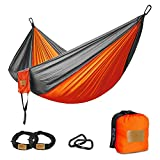 "Greenmall Camping Hammock, Double Portable Soft Breathable Parachute Nylon Lightweight Hammock for Hiking Travel Backpacking Beach Garden, 660lbs Capacity (118""x78"", Orange)"