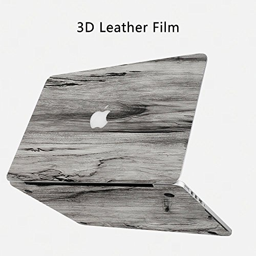 YIER MacBook Pro 15 Case PU Leather Smooth Soft-Touch Case Shell Cover for Apple MacBook Pro 15'' with Touch Bar A1707 Wood grain(Gray) - Smooth Grain
