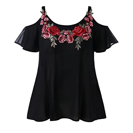 ❤️Sannysis Moda Mujer Correa Gasa Casual Hombro frío Bordado camiseta Blusa Tops Blusas Camisetas Verano
