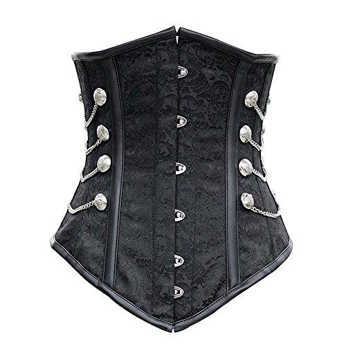 Yall ropa retro Imprimir Abdomen Corsé de acero Black