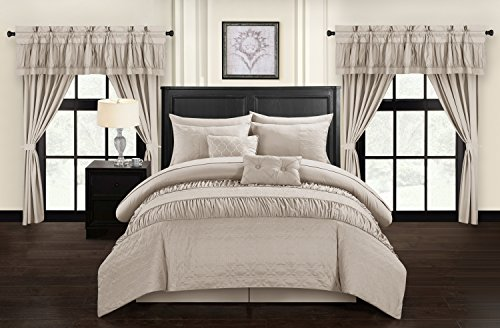 Chic Home Mykonos 20 Piece Comforter Set, Queen, Taupe