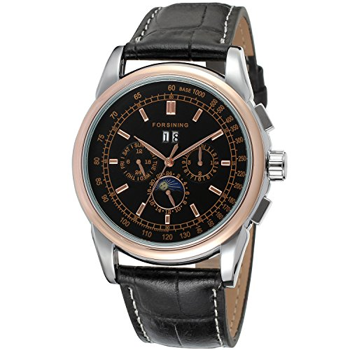 Forsining Men's Automatic Self winding Moon Phase Watch with Black Leather Strap Analogue Display