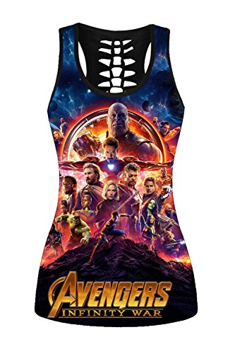 Lady Queen Women's Avengers Print Hollow Back Sleeveless Slim Tank Top M Multicolored -