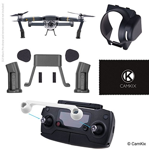 (CamKix Sun Hood, Remote Control Lock and Landing Gear Kit Compatible with DJI Mavic Pro/Platinum - Sun Shield Blocks Excess Sunlight - Leg Extensions Give More Ground Clearance - Locks The Position)