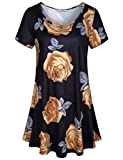 Hibelle Womens Tunic Tops, Ladies Casual Shirts Short Sleeve Summer Floral Patterned Front Pleated Flattering Clothes Comfy Swing Hem Knitted Lightweight Soft Blouses Black Medium
