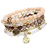 tom+alice Natural Stone Gemstone Beaded Stretch Bracelets Multilayer Bohemian Set for Women 5pcs Jewelry Gold Beads
