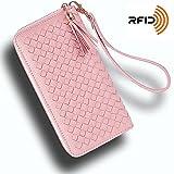 RFID Checkbook/Phone Tassel Zipper Clutch Wristlet Women Wallets, Multifunctional Fahion Design, Black [KARNI SOUL]