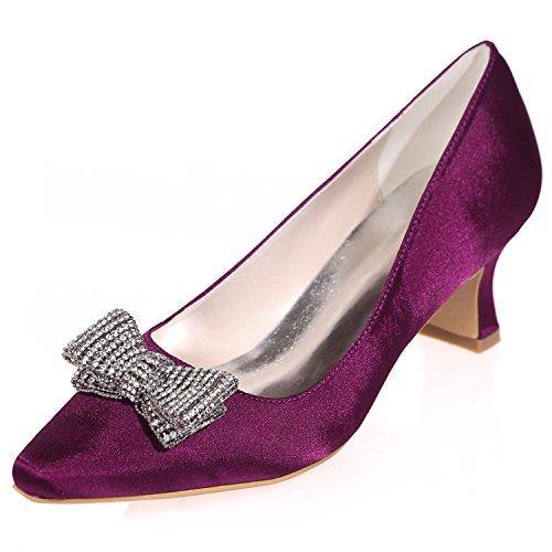 Elobaby Chaussures de Mariage des Femmes Fleur Bout Pointu Sandales Satin Robe de MariéE/Fermé Toe/5.5 Talon Purple pjhyJFe