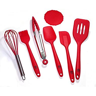Pretty Silicone 6-Piece Kitchen Utensils Set with 1-Piece Silicone Coaster, Cherry Red