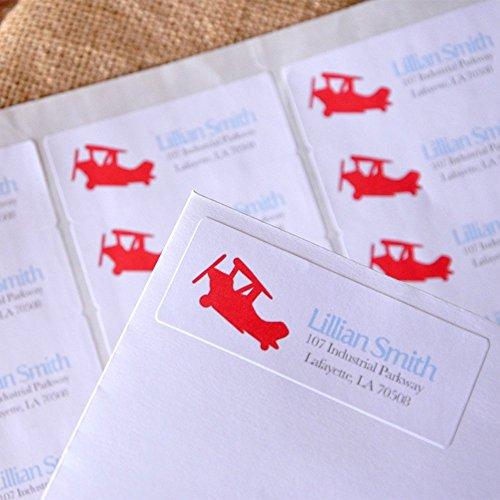 Airplane Birthday Invitation's Return Address Labels. Time Flies Return Address Stickers (Airplane Address Label)