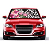 Flower Leopard Sunshade - Pink Hibiscus Orchid - Folding Accordion with Anti Glare Sun Shade