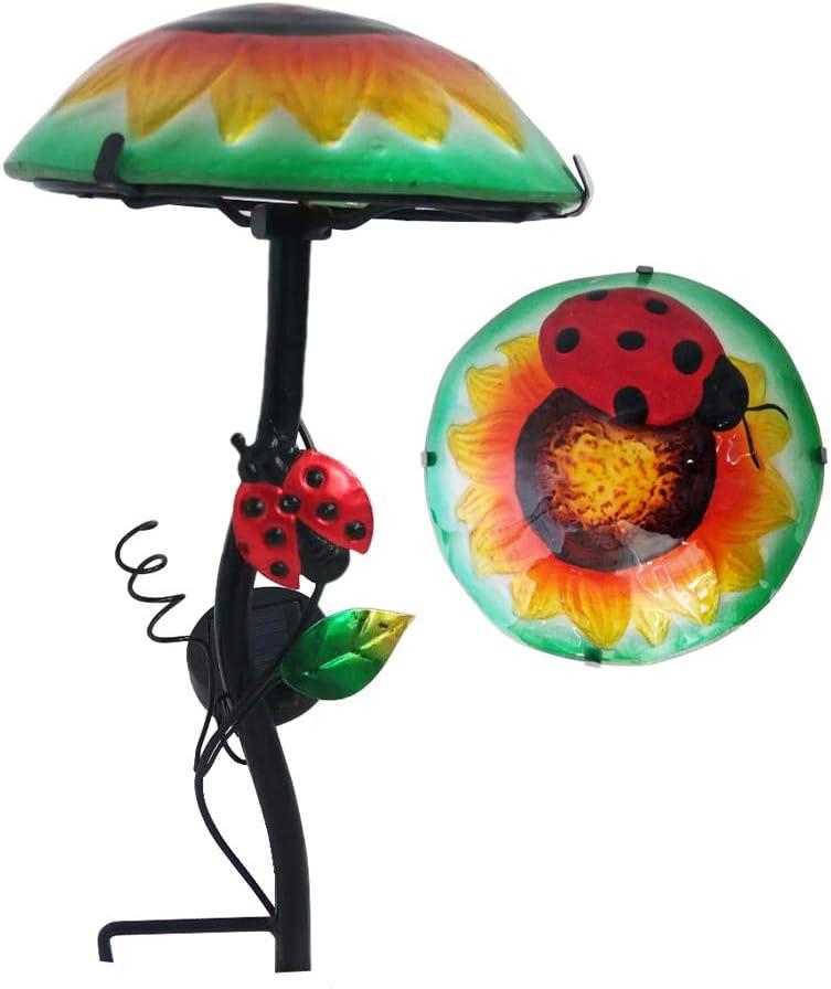 "Comfy Hour 15"" Height Mushroom Shape Coccinella Septempunctata Flower Glass Top Solar Light Garden Stake"