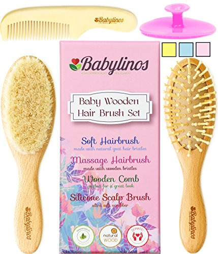 4 Piece Baby Hair Brush Set, Baby Girl Gifts with Natural Hair Products: Baby Brush, Cradle Cap Brush and Baby Comb Baby Essentials or Baby Registry for Baby Shower Gift Set for Newborn or Toddler from Babylinos