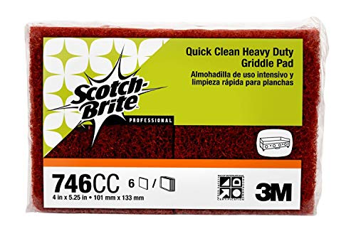 Scotch-Brite 746 Quick Clean Heavy Duty Griddle Pad, 5-1/4'' Length x 4'' Width x 0.8'' Thick (Case of 15) by 3M