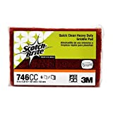 """Scotch-Brite 746 Quick Clean Heavy Duty Griddle Pad, 5-1/4"""" Length x 4"""" Width x 0.8"""" Thick (Case of 15)"""
