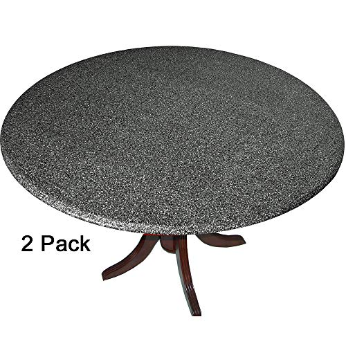 2 Pack of 2 Go Granite Fitted Tablecovers (Table Covers, Tablecloths) with The Look of Polished Granite Black. 2 Covers in one Package - Made in -