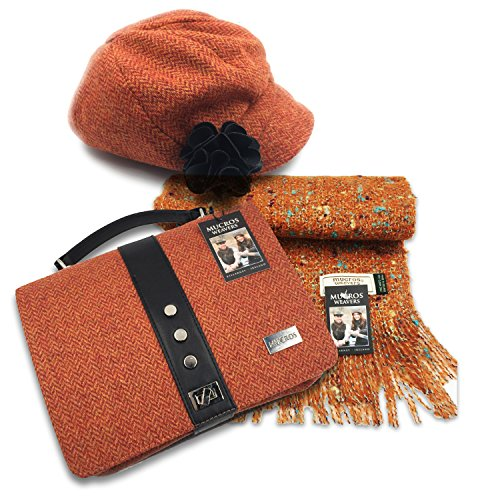 Mucros Set: newsboy Cap, Alpaca Scarf and Fiona Bag by Mucros Weavers