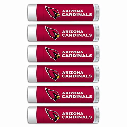 NFL Arizona Cardinals Premium Lip Balm 6-Pack Featuring SPF 15, Beeswax, Coconut Oil, Aloe Vera, Vitamin E. NFL Gifts for Men and Women, Mother's Day, Fathers Day, Easter, Stocking ()