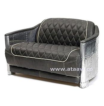 Ashoka Aviador Aviator Muebles de Piel sofá con Negro ...