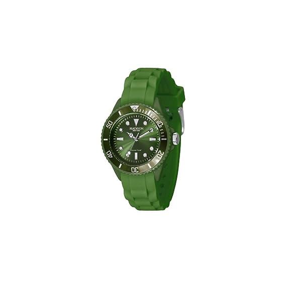 Madison New York Reloj Análogo clásico para Unisex de Cuarzo con Correa en Caucho L4167-18: Amazon.es: Relojes