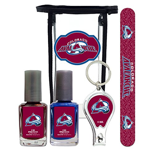 NHL Colorado Avalanche Manicure Pedicure Set with 7-Inch Nail File, Nail Clippers, 2 Nail Polishes in Team Colors, and Toiletry Bag for the Whole Kit. NHL Gifts for Women. ()