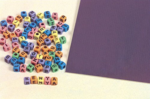 School Smart Cubed-Shaped Uppercase Alphabet Beads - 7 mm - Pack of 150 - Assorted Colors Ss Alphabet