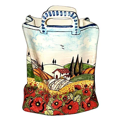 CERAMICHE D'ARTE PARRINI - Italian Ceramic Art Pottery Bag Planter Flowerpot Hand Painted Decorated Poppies Landscape Made in ITALY ()