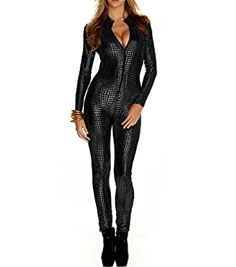 728d12d91d Black Womens Faux Leather Wet Look PVC Catsuit Ladies Girl Fancy Dress  Jumpsuit  Amazon.co.uk  Clothing