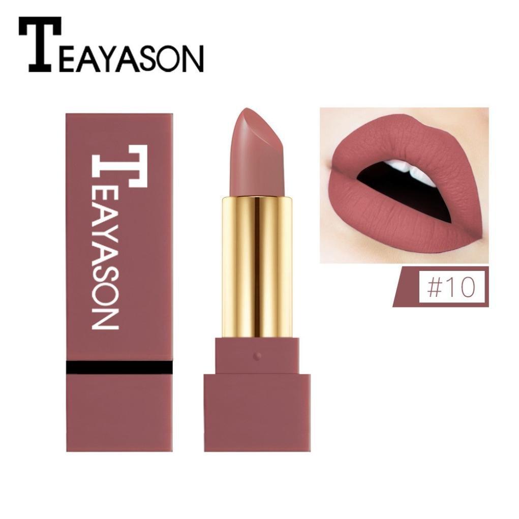 12 Farben Neue Mode nude Lippenstift matt, Huihong TEAYASON Wasserdicht Pigment Braun nude Lippenstift Lang Anhaltende Make up Lipgloss (#09) Huihong Beauty